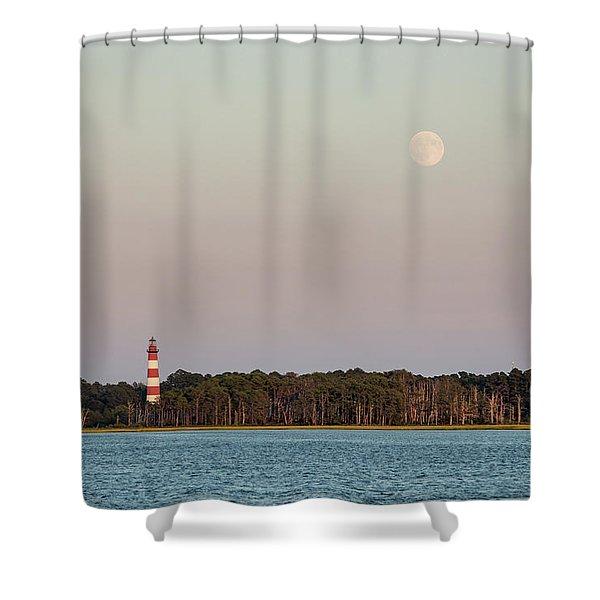 Assateague Light And The Full Moon Shower Curtain