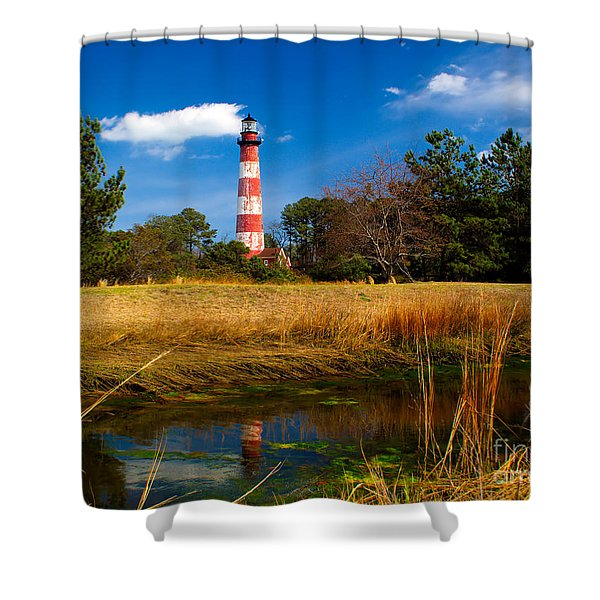 Assateague Lighthouse Reflection Shower Curtain