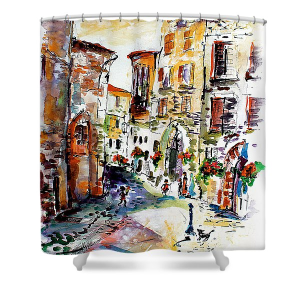 Assisi Italy Old Town Watercolor Shower Curtain