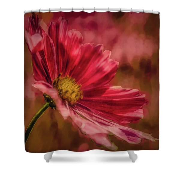 Aster Red Painterly #h1 Shower Curtain
