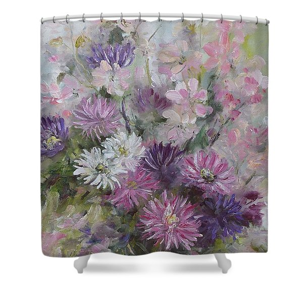 Asters And Stocks Shower Curtain