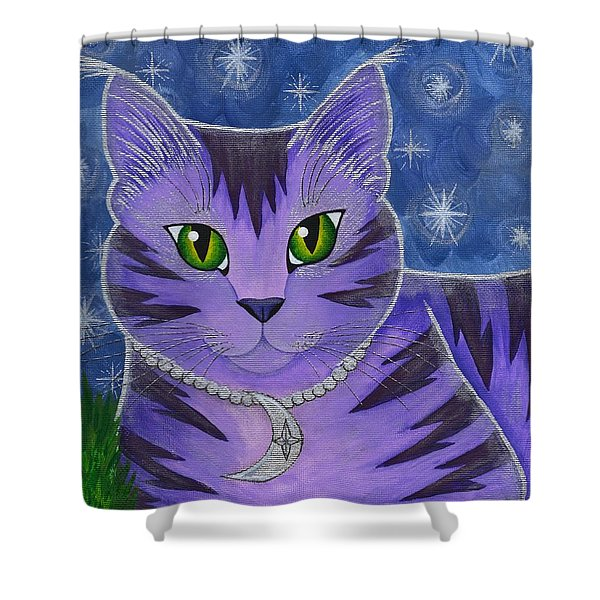 Astra Celestial Moon Cat Shower Curtain