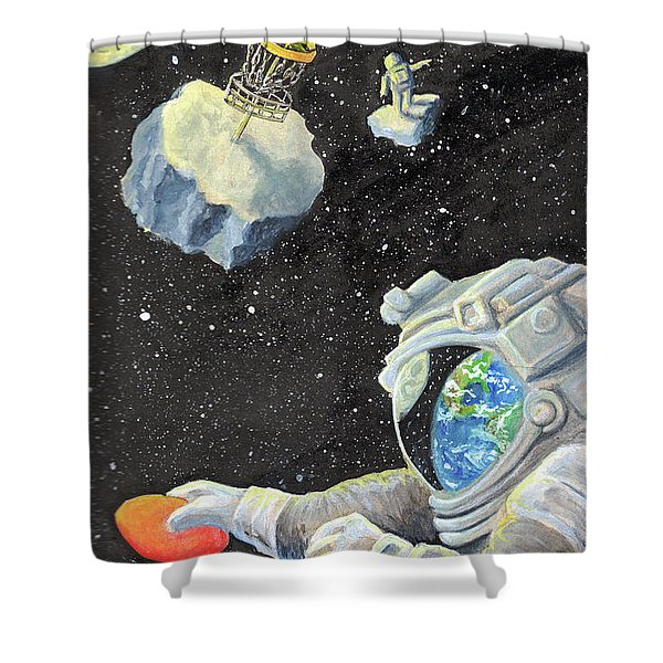 Astronaut Disc Golf Shower Curtain