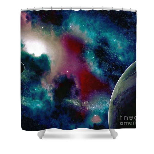 Astronomy Painting Glammed Out Teal Shower Curtain