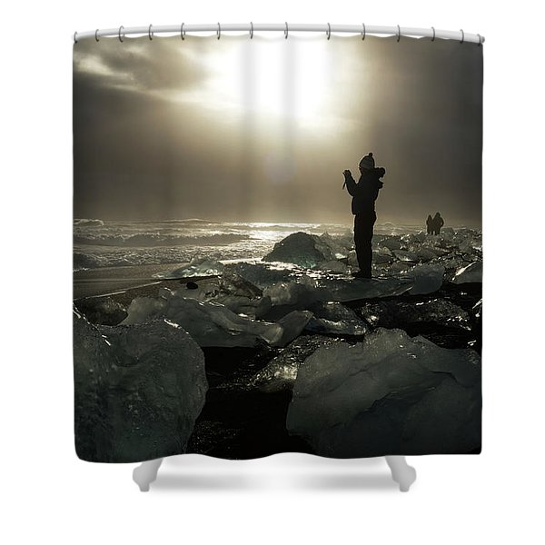 The Diamond Beach, Jokulsarlon, Iceland Shower Curtain