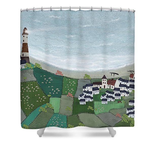 At Home By The Sea  Shower Curtain