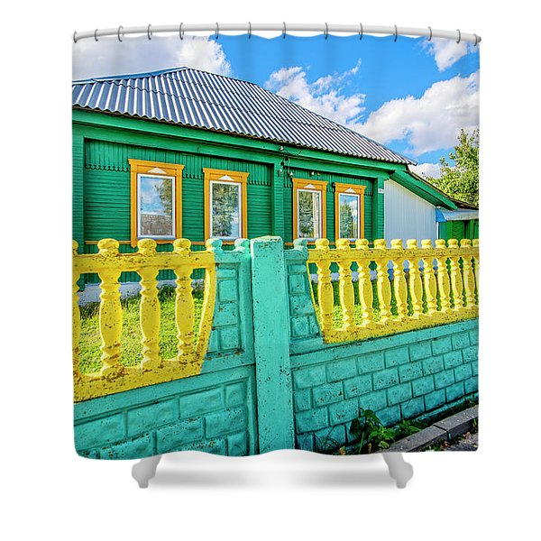 At Home In Belarus Shower Curtain