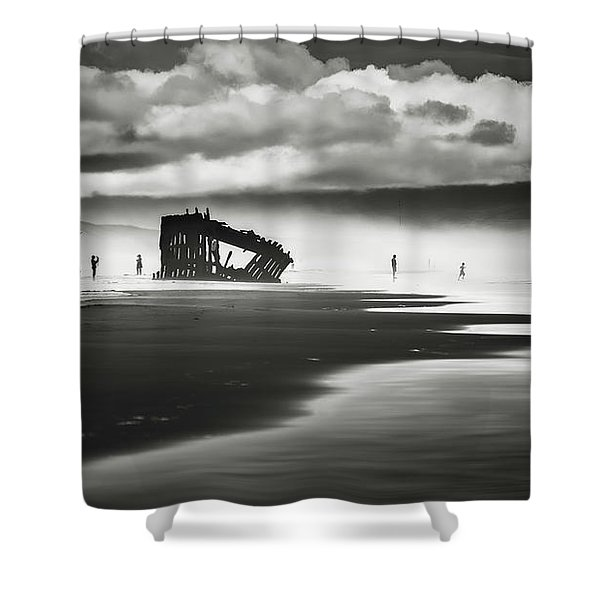 At Peter Iredale Shipwreck Mono Shower Curtain