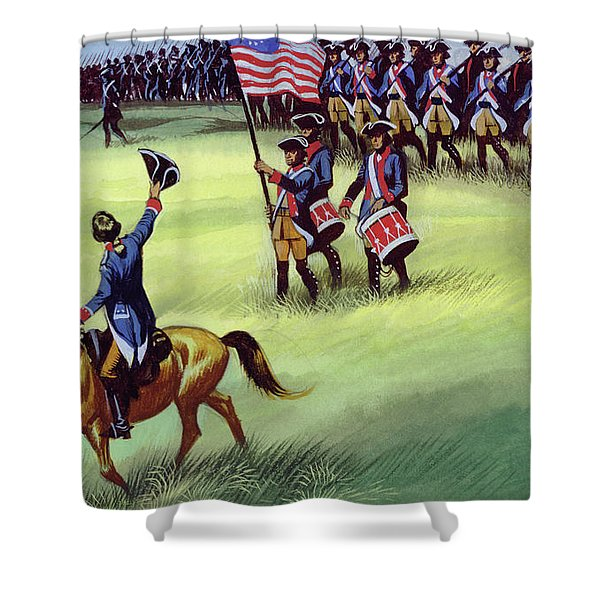 At Saratoga The Colonists Won Victory Shower Curtain