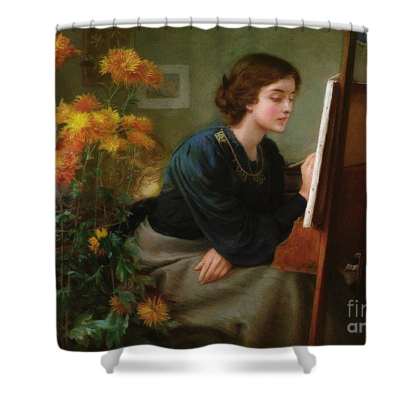 At The Easel  Shower Curtain