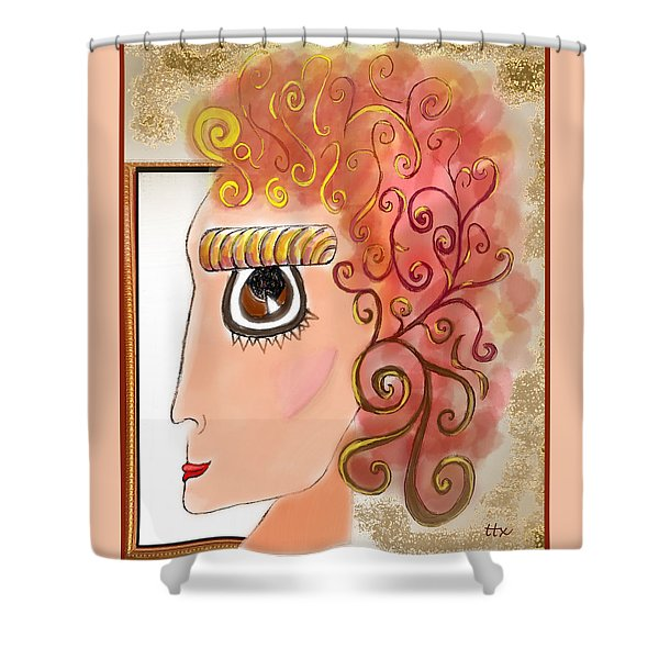 Athena In The Mirror Shower Curtain