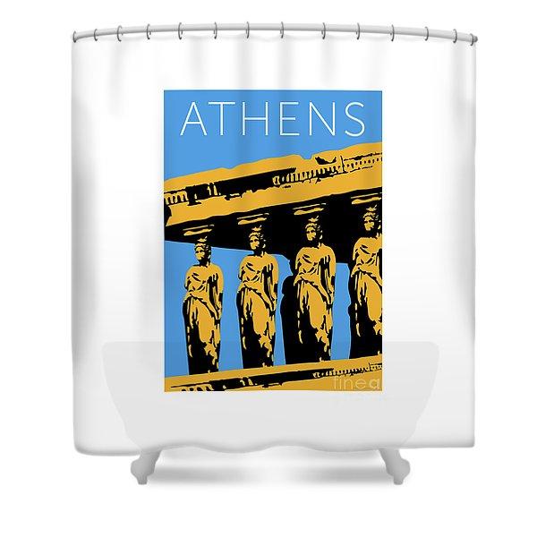 Shower Curtain featuring the digital art Athens Erechtheum Blue by Sam Brennan