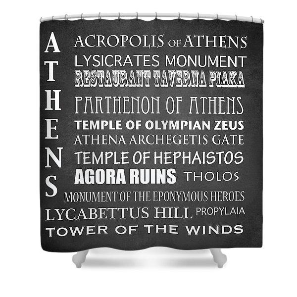 Athens Famous Landmarks Shower Curtain