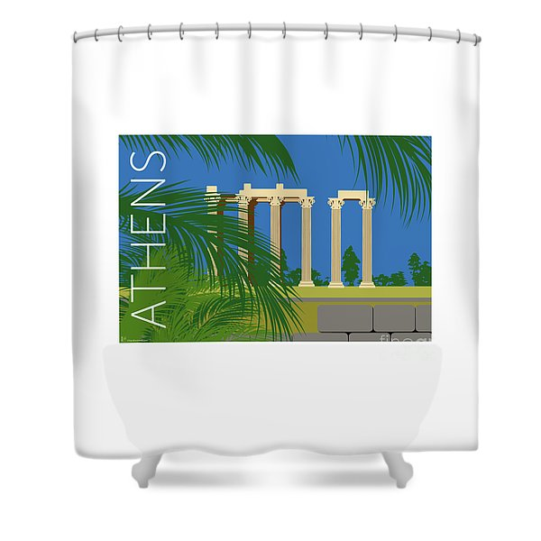 Shower Curtain featuring the digital art Athens Temple Of Olympian Zeus - Blue by Sam Brennan