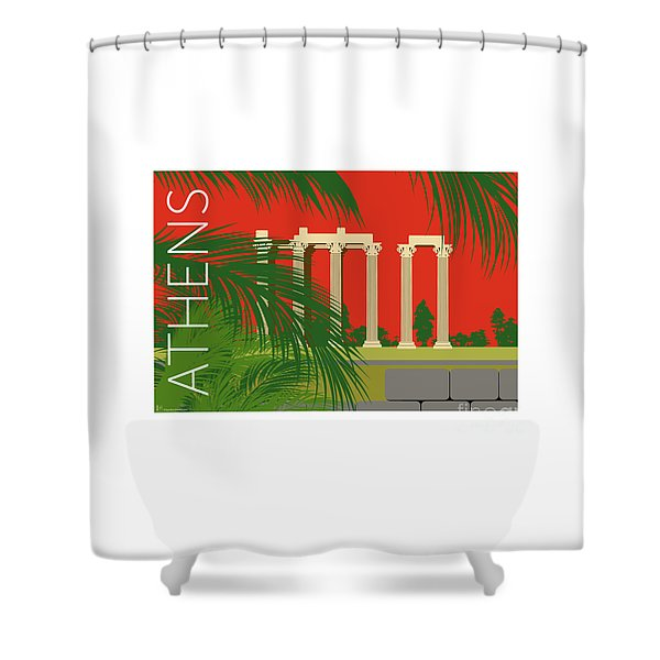 Shower Curtain featuring the digital art Athens Temple Of Olympian Zeus - Orange by Sam Brennan