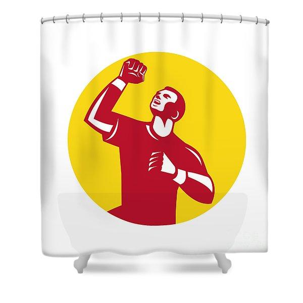 Athlete Fist Pump Circle Retro Shower Curtain