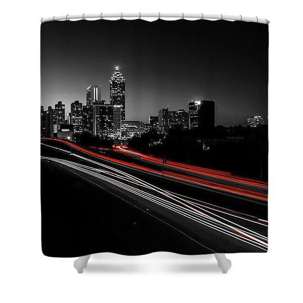 Atlanta Black And White Shower Curtain
