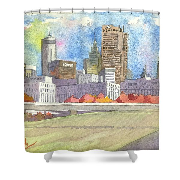 Atlanta Skyline Color Shower Curtain