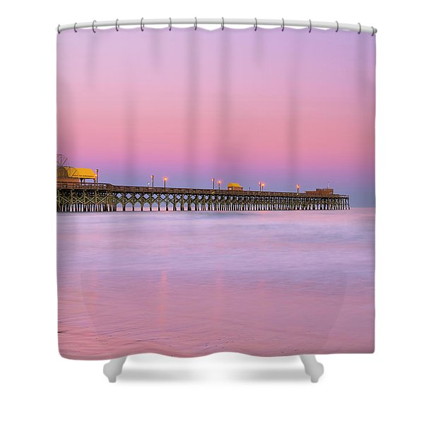Shower Curtain featuring the photograph Atlantic Ocean And The Apache Pier At Sunset In South Carolina by Ranjay Mitra