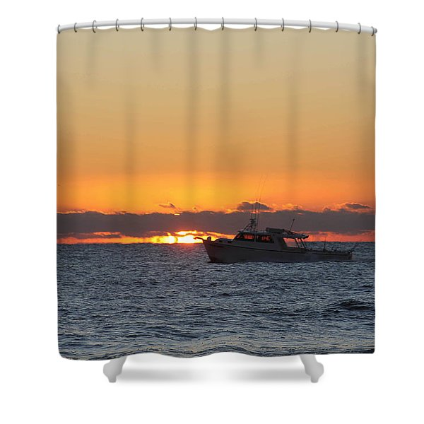 Atlantic Ocean Fishing At Sunrise Shower Curtain