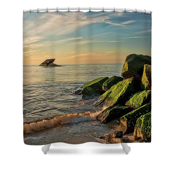 Atlantus Shipwreck Off The Jetty Shower Curtain