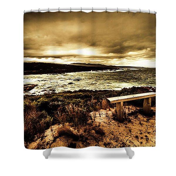 Atmospheric Beach Artwork Shower Curtain