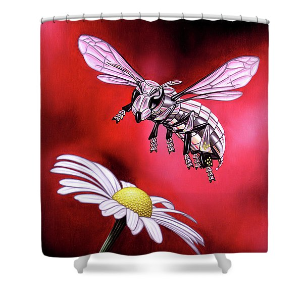 Attack Of The Silver Bee Shower Curtain