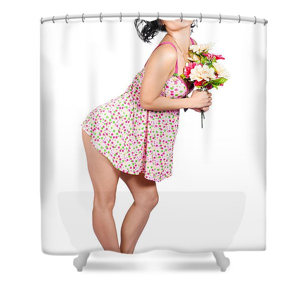 Attractive Asian Woman Holding A Flower Bunch Shower Curtain