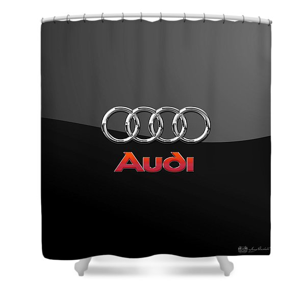 Audi 3 D Badge On Black Shower Curtain