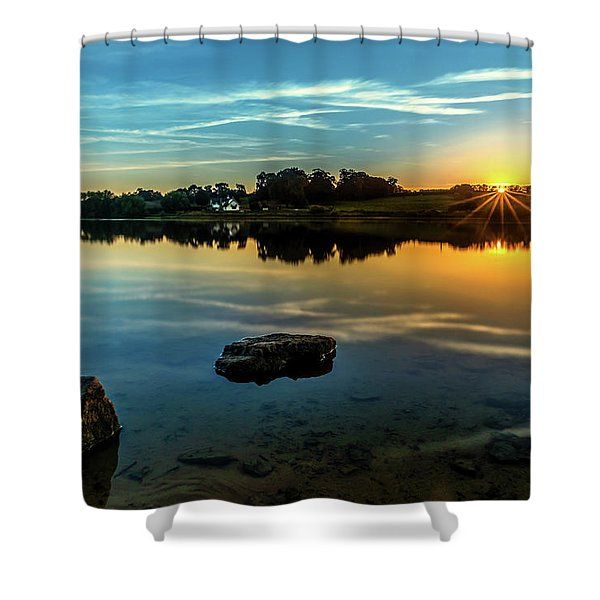 Shower Curtain featuring the photograph August Sunset by Nick Bywater