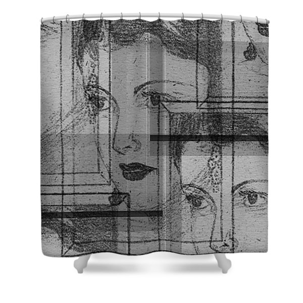 Aunt Edie Black And White Print Shower Curtain