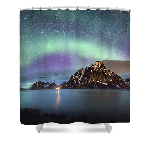 Aurora Above Reinefjord Shower Curtain