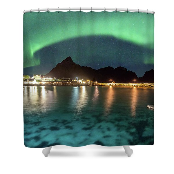 Aurora Above Turquoise Waters Shower Curtain