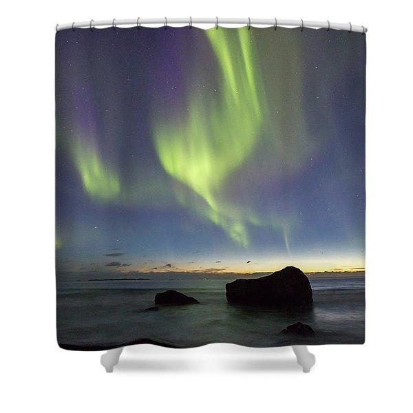 Aurora At Uttakleiv Shower Curtain