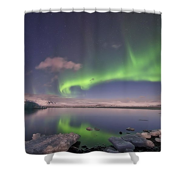 Aurora Borealis And Reflection #2 Shower Curtain