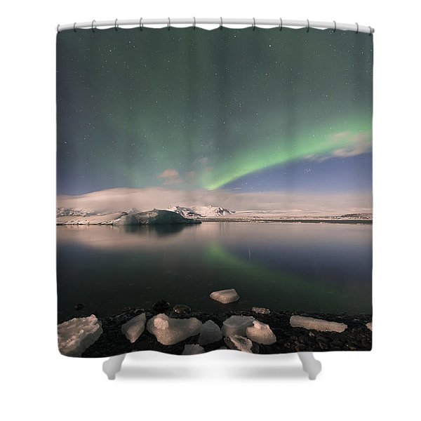 Aurora Borealis And Reflection Shower Curtain