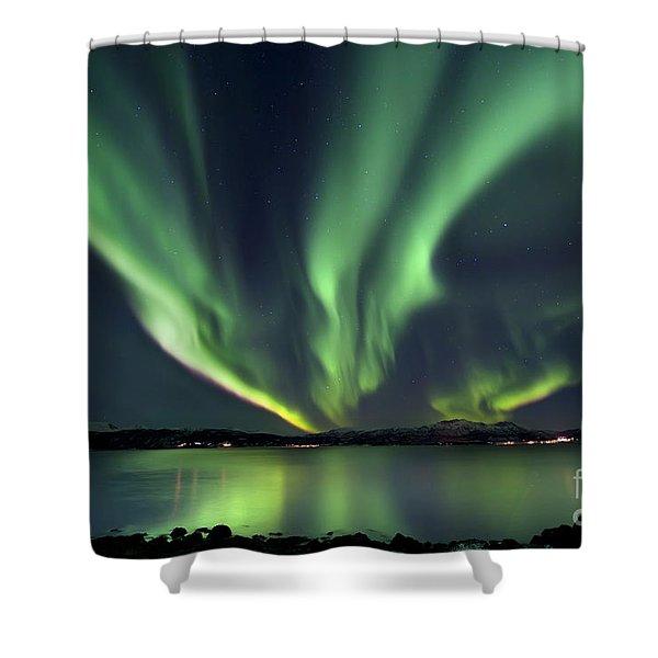 Aurora Borealis Over Tjeldsundet Shower Curtain