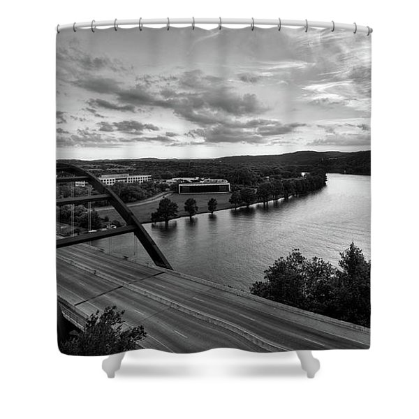 Austin 360 Pennybacker Bridge Sunset Shower Curtain