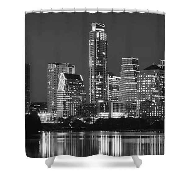 Austin Skyline At Night Black And White Bw Panorama Texas Shower Curtain
