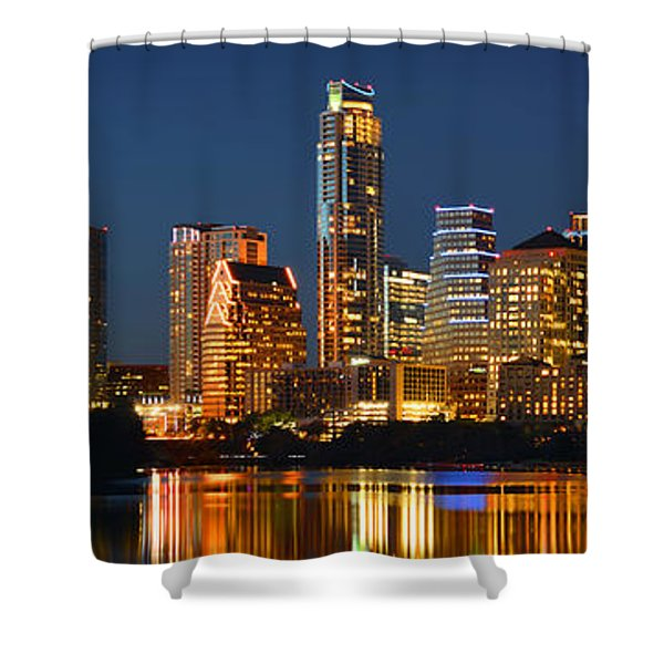 Austin Skyline At Night Color Panorama Texas Shower Curtain