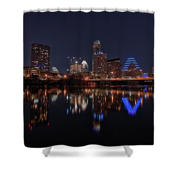 Austin Skyline At Night Shower Curtain