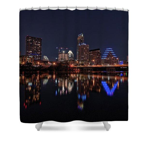 Austin Skyline At Night Shower Curtain