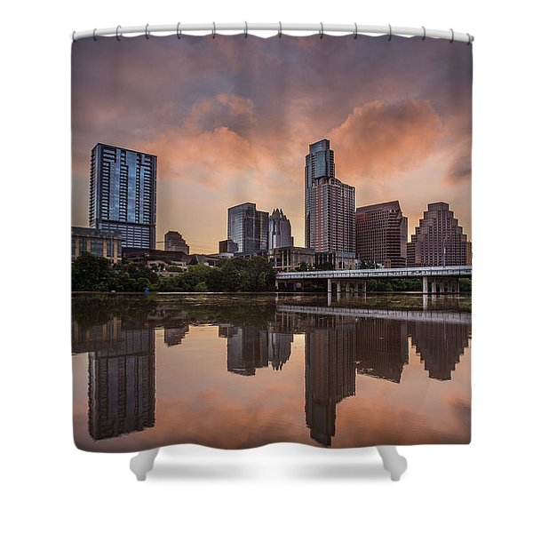 Austin Skyline Sunrise Reflection Shower Curtain