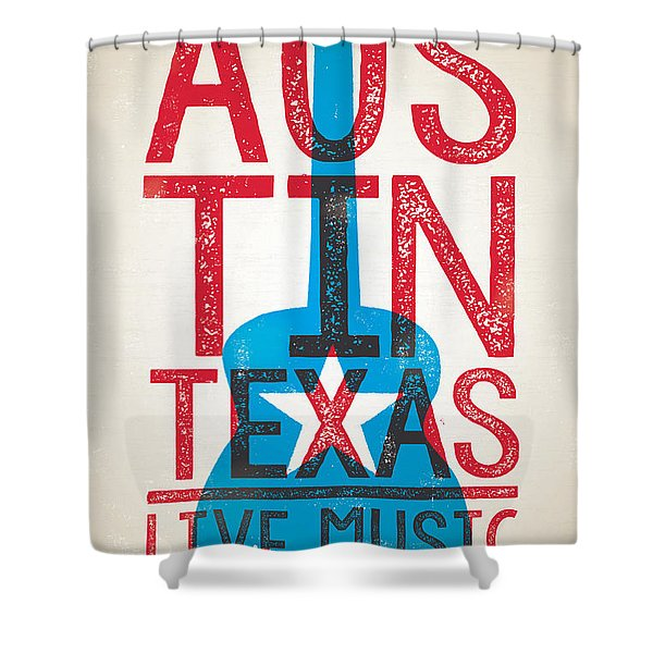 Austin Poster - Texas - Live Music Shower Curtain