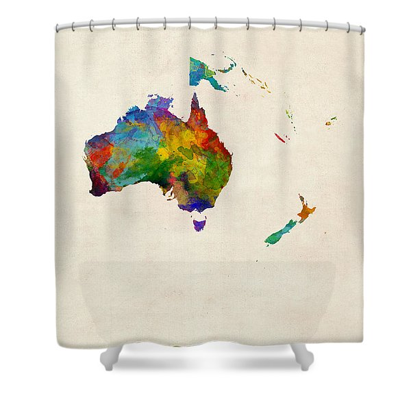 Australia Continent Watercolor Map Shower Curtain