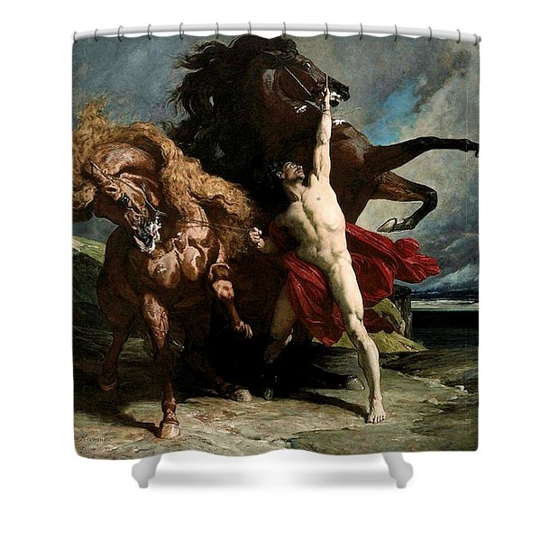 Automedon With The Horses Of Achilles Shower Curtain