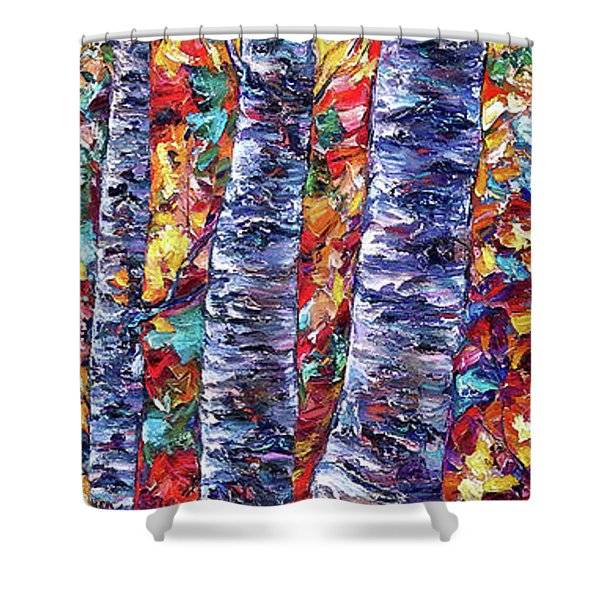 Autumn  Aspen Trees Contemporary Painting  Shower Curtain