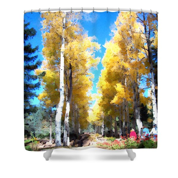 Shower Curtain featuring the digital art Autumn Aspens by Deleas Kilgore
