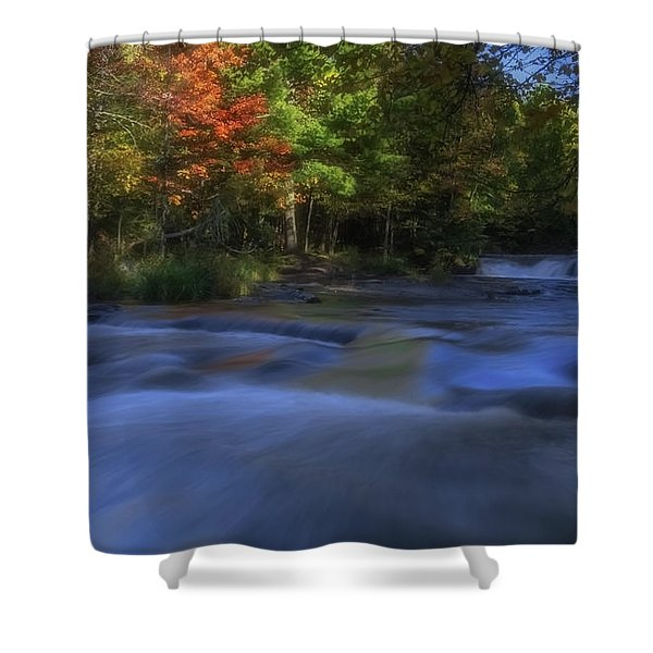 Shower Curtain featuring the photograph Autumn At Bond Falls by Heather Kenward