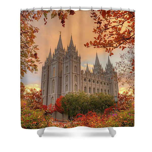 Autumn At Temple Square Shower Curtain
